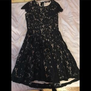 Black lace dress with tan detail